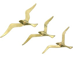 Komplet trzech mosiężnych plakiet ptaki, lata 70.