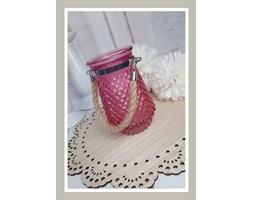 Mini szklany lampion w różowym kolorze