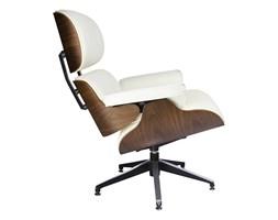 Fotel LOUNGE biały, sklejka orzech