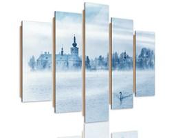 Obraz pięcioczęściowy na panelu dekoracyjnym, pentaptyk typ C, Mgliste jezioro 4