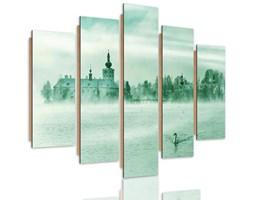 Obraz pięcioczęściowy na panelu dekoracyjnym, pentaptyk typ C, Mgliste jezioro 3
