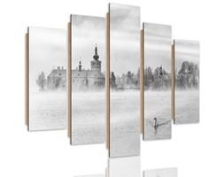 Obraz pięcioczęściowy na panelu dekoracyjnym, pentaptyk typ C, Mgliste jezioro 2