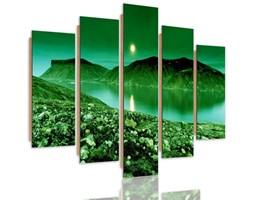 Obraz pięcioczęściowy na panelu dekoracyjnym, pentaptyk typ C, Zielony krajobraz górski