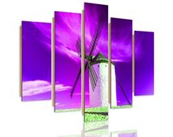 Obraz pięcioczęściowy na panelu dekoracyjnym, pentaptyk typ C, Wiatrak i fioletowe niebo
