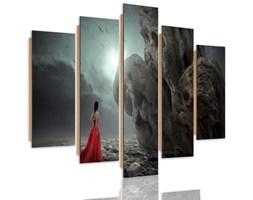 Obraz pięcioczęściowy na panelu dekoracyjnym, pentaptyk typ C, Kobieta w czerwonej sukni fantasy