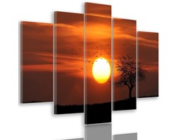 Obraz pięcioczęściowy na płótnie Canvas, pentaptyk typ A, Drzewo ptaki i zachód słońca