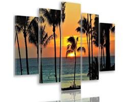 Obraz pięcioczęściowy na płótnie Canvas, pentaptyk typ A, Palmy o zachodzie słońca