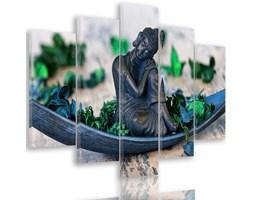 Obraz pięcioczęściowy na płótnie Canvas, pentaptyk typ A, Budda i płatki 2
