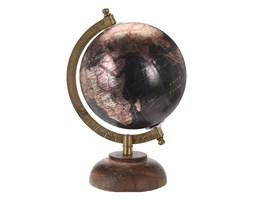 Globus czarny metaliczny średnica 13 cm na drewnianej podstawie