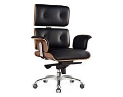Fotel biurowy LOUNGE BUSINESS czarny - sklejka orzech, skóra naturalna