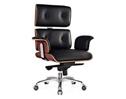 Fotel biurowy LOUNGE BUSINESS czarny - sklejka różana, skóra naturalna