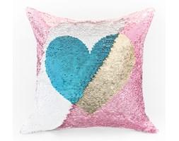 Poszewka HEART kolor biały-aqua/różowy-złoty