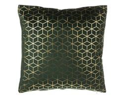 Poduszka dekoracyjna wzorzysta welur ciemnozielona 45 x 45 cm CELOSIA