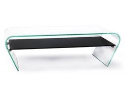 Stolik szklany CASA VIOLINO OPTI z półką - szkło transparentne, półka czarna