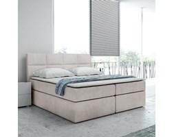 Tapicerowane łóżko kontynentalne BOLMAN z zagłówkiem pikowanym w prostokąty
