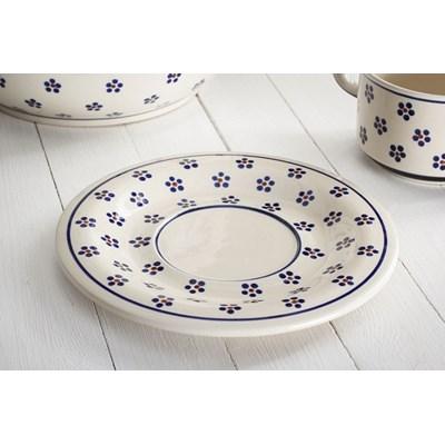 Ceramiczna talerzyk / Spodek GU-908 DEK. 225 Boles�awiec 19 cm -- kremowy niebieski - rabat 10 z� na pierwsze zakupy!