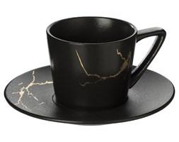 Filiżanka do herbaty ze spodkiem MARBLE, 200 ml, kolor czarny