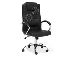 Krzesło biurowe czarne skórzane funkcja masażu DIAMOND II