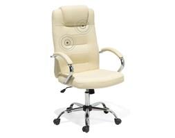 Krzesło biurowe beżowe skórzane funkcja masażu DIAMOND II