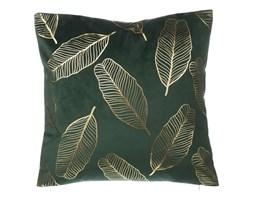 Poduszka dekoracyjna liście welur ciemnozielona FREESIA