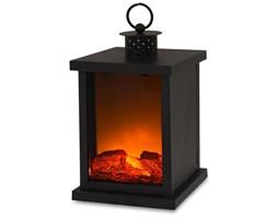 FLAMENO II lampion metalowy czarny z imitacją ognia, wys. 31 cm