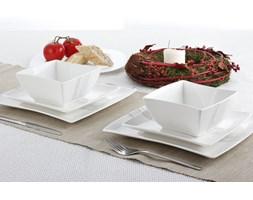 Serwis obiadowy kwadratowy DUO SILVER LINE na 6 osób (18 el.) -- biały - rabat 10 zł na pierwsze zakupy!