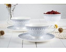 Komplet 2 filiżanek porcelanowych DUO KARYNTIA -- biały niebieski - rabat 10 zł na pierwsze zakupy!